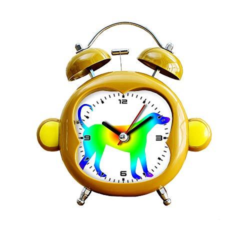 GIRLSIGHT1 - Reloj despertador silencioso para habitación infantil, diseño de mono, de cuarzo, analógico, con luz nocturna, 355, perro arcoíris