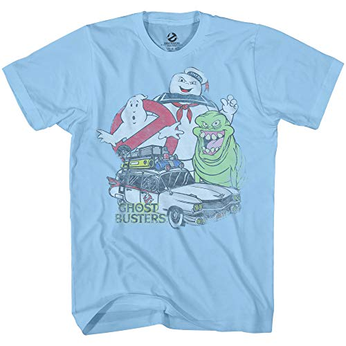 Men's Ghostbusters Ecto 1, Stay Puft and No Ghost Logo T-shirt, Light Blue