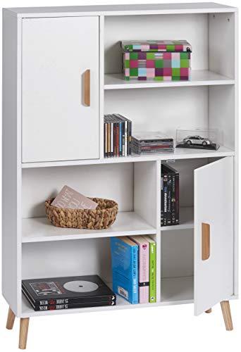 ts-ideen Kommode Anrichte Sideboard mit 2 Türen und Fächern Holz Weiß mit Beinen 118 x 80 cm