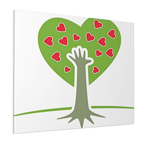 """Tree of Life Decor Eco Friendly Cute Symbolic Tree with Hand and Heart Flower Saving Nature Decor Green White Redpainting 16"""" X 20"""" Panoramic Canvas Wall Art"""