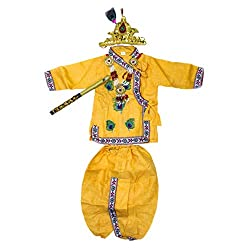 Every Yasoda wants her Krishna to look Great on Janamastmi, every Fancy dress competition and special occassions. Just Imagine how your little boy will look and admired by all in this beautiful Embroided Yellow dress of Krishna with combinationMukut ...