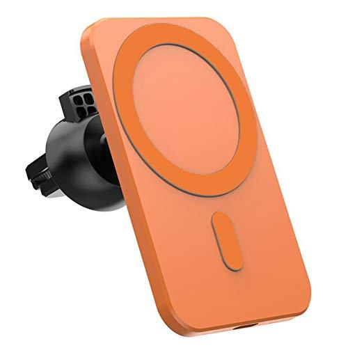 Soporte Móvil Coche,Cargador Magnético Sin Hilos Sin Hilos del Coche del Montaje De Orange Reemplazo del Soporte para El iPhone 12 Pro Mini MAX Magsafe