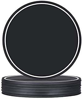 BEWISHOME Coasters for Drinks Set of 6 Silicone Drink Coasters with Good Grip, Soft Washable Coasters, Nice Housewarming Gifts -Protect Tabletop-Fit Any Size of Drinking Glasses, Black KBD01H