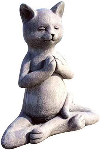 Dog Buddha, Meditating Dog Statue, Outdoor Art Dog Meditation Garden Decoration, Patio Lawn Yard Art Ornaments, Resin, Best Gifts for Yoga Lovers (Cat)