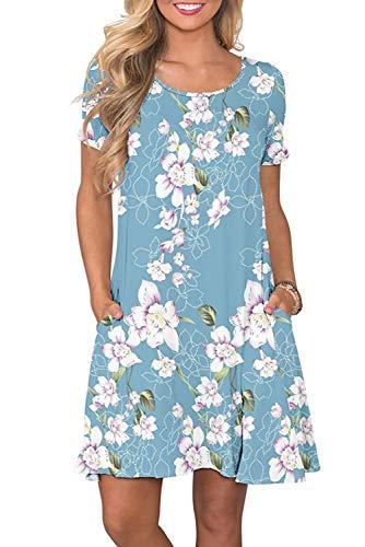 Bequemer Laden Sommerkleid Casual Kleid Damen Cocktailkleid Festlich Partykleid A Linie Kurze Knielang, L, Hellblau