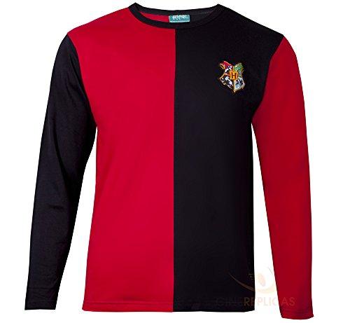 Cinereplicas - Harry Potter - T-Shirt - Stil Trimagisches Turnier und Quidditch - T-Shirt Harry Potter - Offiziel lizensiert - S - Rot und schwarz
