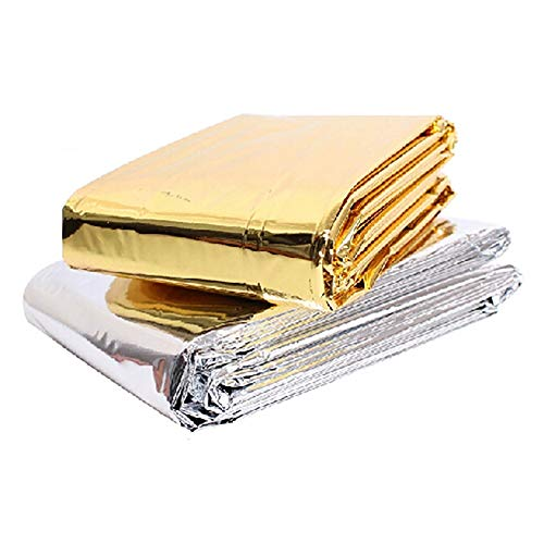 Xiton Emergency Thermal Decken wasserdichte Thermofolie Decke für Camping Wandern Erste Hilfe (Golden-Silber) 1 STÜCK