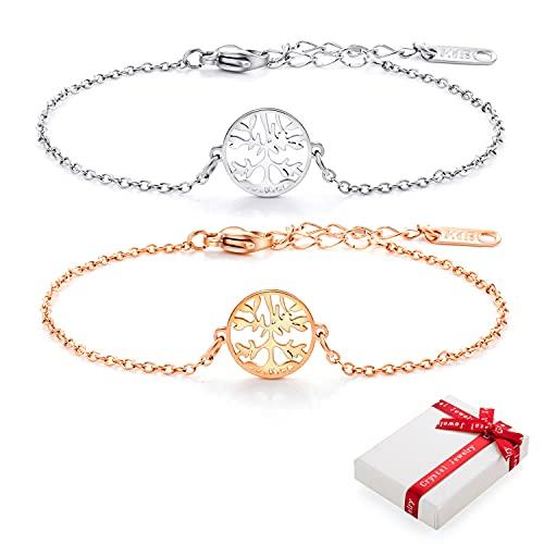 2 pulseras de mujer con árbol de la vida, oro rosa/plata, pulsera ajustable de acero inoxidable 316, pulsera con árbol de la vida, pulsera para mujeres y niñas, regalo para novia con caja de regalo