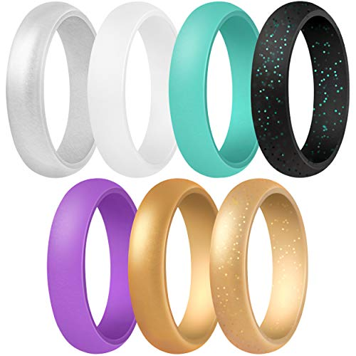ThunderFit Women's Silicone Wedding Ring - Rubber Wedding Band - 5.5mm Wide, 2mm Thick (Black Glitter, Gold Glitter, Teal, Purple, White, Gold, Silver - Size 7.5-8 (18.2mm))