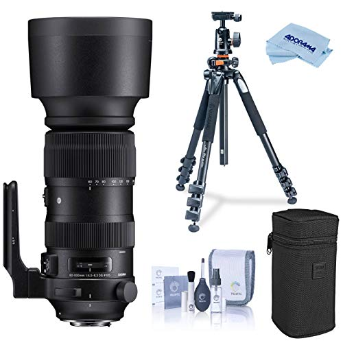 Sigma 60-600mm F4.5-6.3 DG OS HSM Sports Camera Lens, Black (730954), Canon EF Mount Bundle with Vanguard Alta Pro 264AT Tripod and TBH-100 Head with Arca-Swiss Type QR Plate, Cleaning Kit