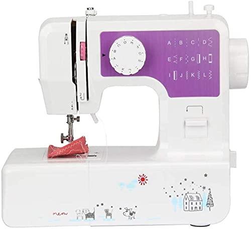 Máquina de coser compacta doméstica eléctrica 12 tipos de puntadas, función de inversión de ojo de cerradura gruesa con interfaz USB, velocidad ajustable para principiantes-púrpura