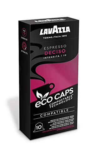 Lavazza 50 Nespresso Kompatible Eco Caps Kapseln, kompostierbar, Kaffee Espresso Deciso, 5 x 10er Pack (265 g)