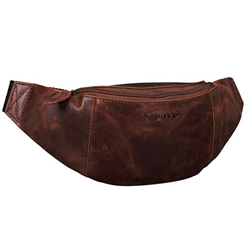 STILORD 'Shawn' Leder Gürteltasche groß Vintage Bauchtasche Festivaltasche Hüfttasche für Herren und Damen 7 Zoll Reisetasche Voll-Leder, Farbe:Zamora - braun