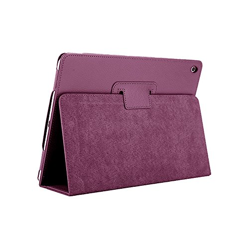 iPad Mini 1 2 3 Case, FANSONG Bi-fold Series Litchi Stria Ultra Thin Magnetic PU Leather Smart Protective Cover Case [Flip Stand,Sleep Function] for Apple iPad Mini 2/3 7.9-inch, Purple