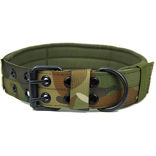 dDanke Collare tattico per cani militare regolabile collare per addestramento con doppia fibbia ad anello in metallo (M/L/XL)