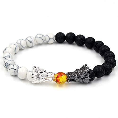 Bead Bracelets for Men and Women Natural Black Lava & White Howlite Buddha Dragon Beaded Stone Bracelet Good Luck Charm Jewelry Gift Adjustable