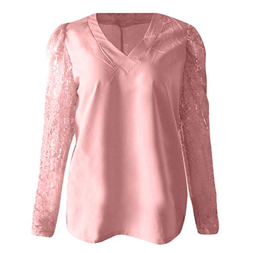Womens Blouse, SHOBDW Women's Fashion Sexy Lace Blouse Hollow Long-Sleeve V-Neck Top Female Plus Size Summer T-Shirt Ladies Loose Clothes(#1 Pink,3XL)