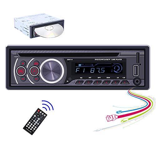 Hikity Singolo Din Autoradio Lettore DVD CD Sistema Audio,Stereo per auto con Bluetooth Ricevitore Radio FM per Auto,Lettore MP3 per Auto con Porta di Ingresso USB SD AUX-in+Telecomando Senza Fili