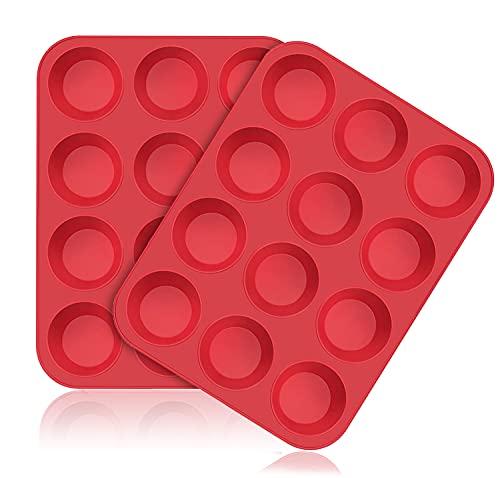 SUPER KITCHEN 2 Stück Große Muffinform aus Silikon für 12 Muffins, Antihaft Muffinblech Antihaftbeschichtet Backblech Backform für Cupcakes, Brownies, Kuchen, Pudding 33 x 25 x 3 cm (Rot)