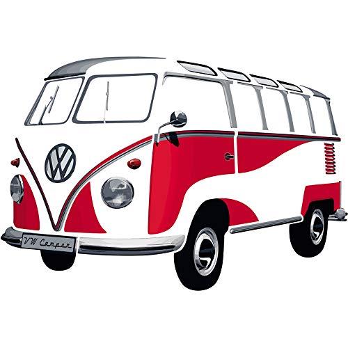 BRISA VW Collection - Großes & Stylishes selbstklebendes Volkswagen Wand-Tattoo-Aufkleber-Dekoration-Poster, mehrteilig VW T1 Bulli Bus Samba (Rot/Weiß)
