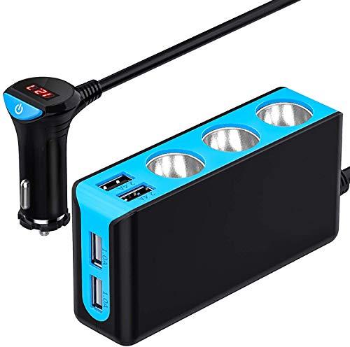 USB Auto Ladegerät, CHGeek 120W Zigarettenanzünder Verteiler 12V/24V DC 3 Mehrfach Steckdose Splitter und 6.8A 4 USB Ports KFZ Ladegerät Adapter mit LED Voltmeter Schalter für Handy GPS-Blau