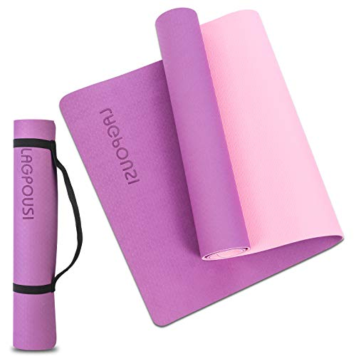 Yoga Mat for Women, 1/4 Inch Thick High Density Non-slip Floor Exercise Fitness Yoga Mat Tear Resistant Workout Mat with Carrying Strap (Purple+Pink)