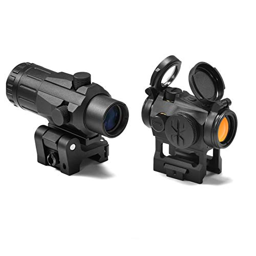 KNINE OUTDOORS 2 MOA 20mm Lens Tactical Red Dot Sight Scope 1 Inch Riser Mount with 3X Magnifier Combo