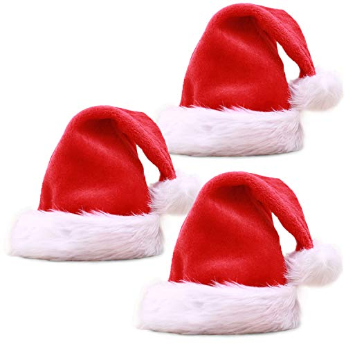3 Pack Santa Hat for Adults, Christmas Hat Traditional Red and White Plush Velvet Holiday Party Hat with Liner