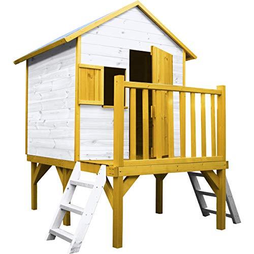 SOULET Spielhaus Igor mit Podest (Gartenhütte, Holzhaus, Kinderspielhaus für 3 Kinder, Hochwertiges und unbehandeltes Trockenholz Kiefer) 794424