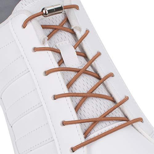 SULPO Elastische Schnürsenkel mit Metallverschluss – Ohne Binden – Silikonschnürsenkel S009 (Hellbraun)