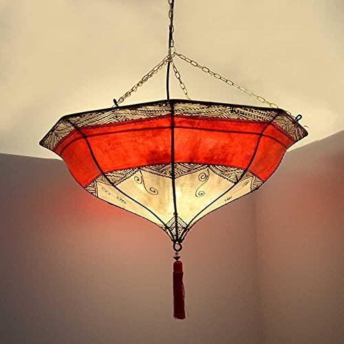Lámpara de techo oriental Caps natural, color blanco/rojo, 54 x 55 cm, grande, lámpara de cuero, lámpara colgante sobre la mesa, pantalla de piel auténtica, estructura de metal 210221