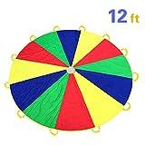 Everfunny Play Paracadute, Bambini 210T Rainbow Play Parachute 12Metri con 12Maniglie ...