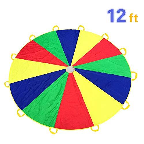 Everfunny Parachute de Jeu pour Enfants 210T Arc-en-Ciel 3,6 m avec 12 poignées pour 3 à 8 Jeux