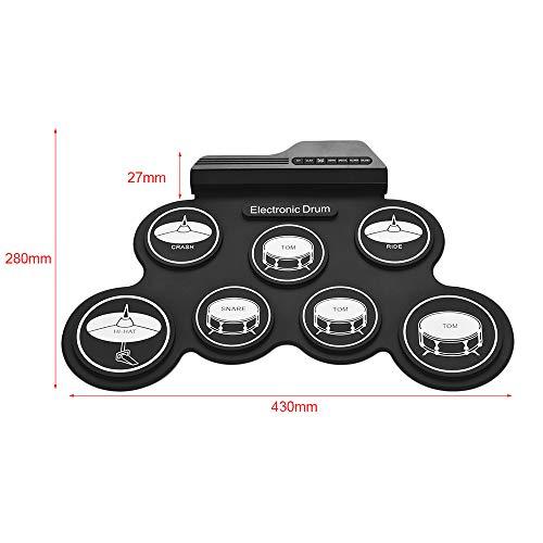 Bedler Ensemble de batterie en silicone pour débutants Taille compacte USB Roll-Up Silicon Drum Set Kit de batterie électronique numérique 7 pads de batterie avec pédales pour pédales pour débutants