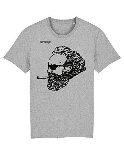 karlskopf | Cooles T-Shirt für Herren mit Motiv | Tshirt Karl Marx | Tshirt mit Aufdruck Rocker | Größe 3XL | In der Farbe Grau | Tshirt Herren mit geilem
