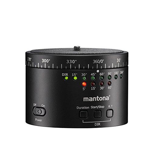 Mantona Turnaround 360 Automatic Panorama Stativkopf mit Gewinde (1/4 Zoll) für Zeitraffer und Intervall Fotoaufnahmen