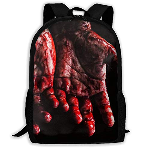 XCNGG Hand Full of Blood Printed Travel Backpack,Waterproof Lightweight Laptopbag Have Two Side Pockets