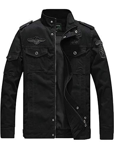 YXP Men's Military Jacket Casual Lightweight Cotton Windbreaker Field Jacket(Black,L)