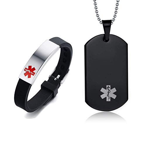 %65 OFF! LF Stainless Steel Customize Medical Alert Jewelry Sets Emergency ID Tag Caduceus Bracelet ...