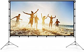 Vamvo Outdoor Indoor Projector Screen with Stand Foldable Portable Movie Screen 120 Inch (16:9) Full-Set Bag for Home Theater Camping and Recreational Events (120inch)