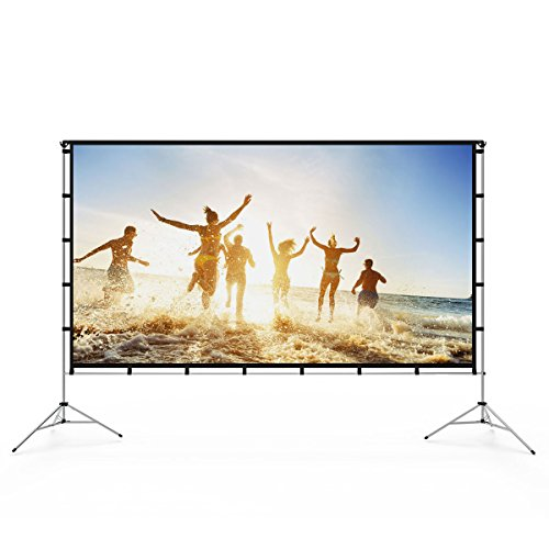 Vamvo Outdoor Indoor Projector Screen with Stand Foldable Portable Movie Screen 80 Inch (16:9) Full-Set Bag for Home Theater Camping and Recreational Events (80 inch)