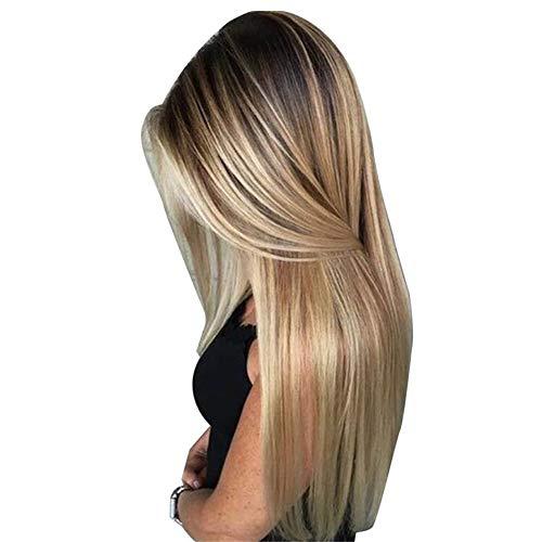 RoSoy Dames Lange Rechte Pruik met Haarnetje Blond Synthetisch Haar Pruiken