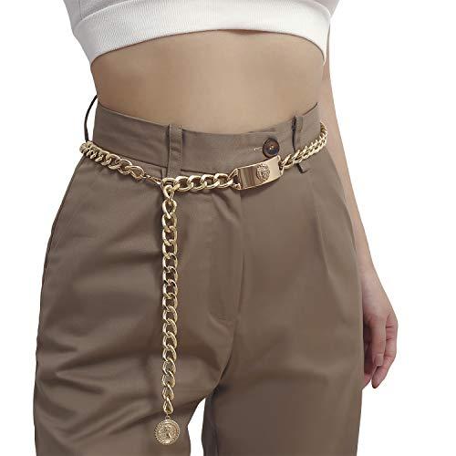 LumiSyne Moda Cinturón De Cadenas De Metal Dorado Para Mujer Estatua De León Vintage Colgante De Retrato Longitud Ajustable Cadena De Cintura De Metal Dorado Cinturón De Vestir Cadena Del Cuerpo