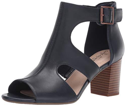 Clarks Women's Deva Heidi Heeled Sandal Navy Leather 070 M US