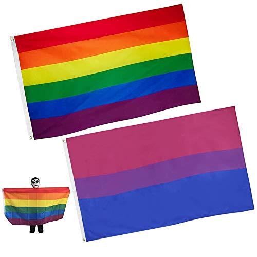 Zeaye 2pcs 3x5 Fuß Regenbogenfahne - Lebendige Farbe und UV-beständig - Leinwandkopf und doppelt genäht - Gay Pride Banner Flags