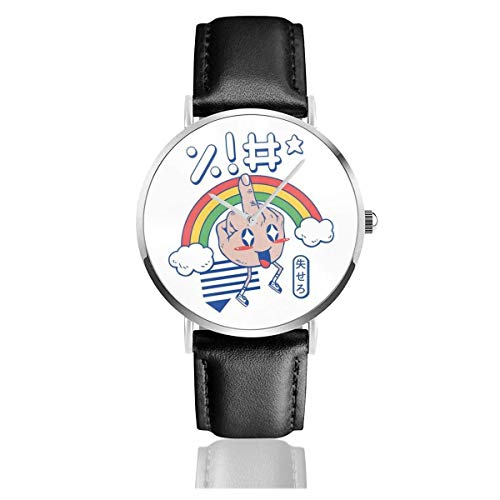 Kawaii As FCK Regenbogenuhren Quarzlederuhr mit schwarzem Lederband für Sammlungsgeschenk