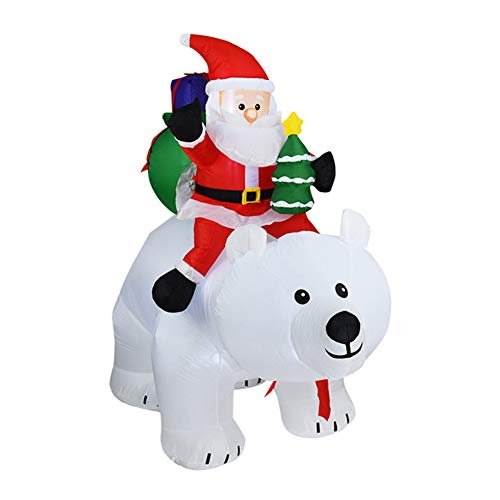 HHORD 170Cm Christmas Inflatables Santa Claus Riding The Polar Bear with Moving Head Decorations - Blow Up Party Decor for Indoor Outdoor Yard with LED Lights
