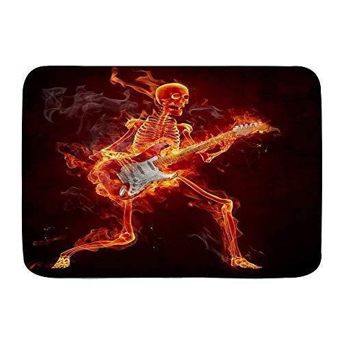 Alfombrillas para puertas, esqueleto muerto, música, Halloween, muerte, zombi, tocando la guitarra eléctrica en fuego ardiente, divertido estilo de humor, alfombra de baño para piso de cocina