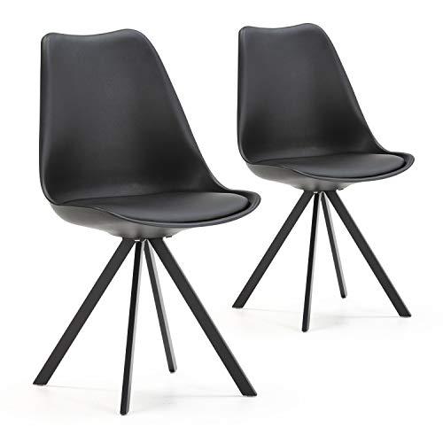 VS Venta-stock Set de 2 sillas Comedor Cross Estilo nórdico Negro, certificada por la SGS, 54 cm (A