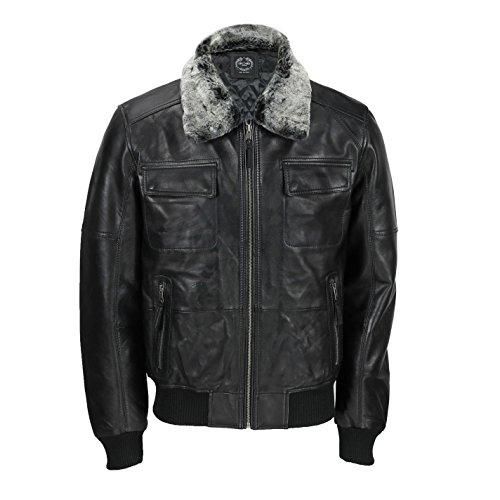 Xposed Chaqueta de cuero suave para hombre, estilo retro de motociclista, estilo vintage bombardero